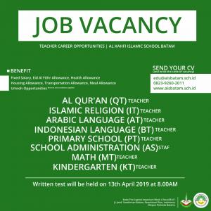 Poster Lowongan Kerja Guru & Staf 2019 di Sekolah Islam Bagus di Batam AIS